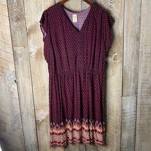 Red Purple Sleeveless Dress Native Print XXL